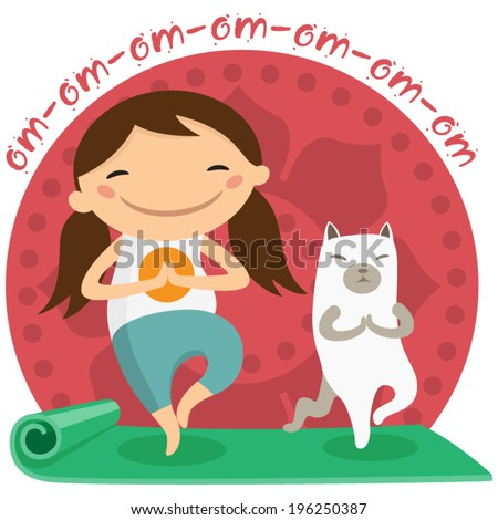 Girl with her cat doing yoga - stock vector