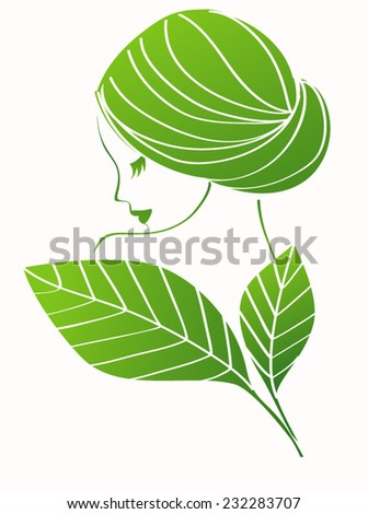 Girl with leaves - stock vector