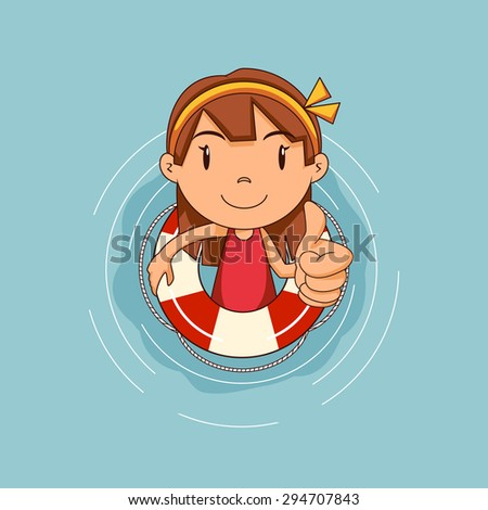 Girl with lifebuoy floating on water, vector illustration - stock vector