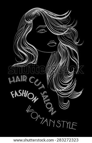 Girl with long hair - stock vector