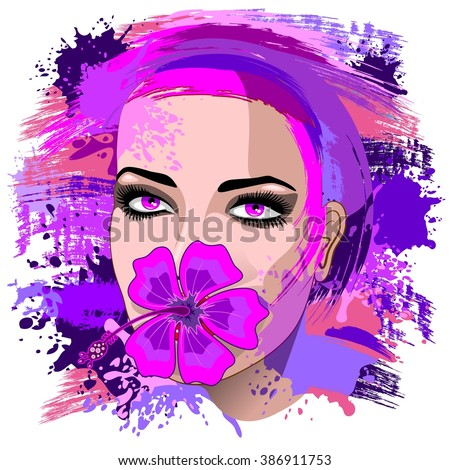 Girl with Pink Hibiscus on Lips  - stock vector