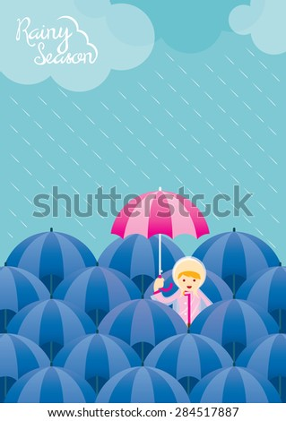 Girl with Pink Umbrella among Blue Umbrella Rainy Season, Monsoon, Rain,  - stock vector