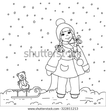 Girl with sled in winter. - stock vector