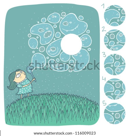 Girl with Soap Bubbles Mind Game Puzzle ... Task: Find the right missing part of a picture! ... Solution: No. 4 - stock vector