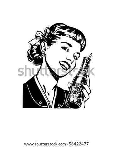 Girl With Soda - Retro Clip Art - stock vector