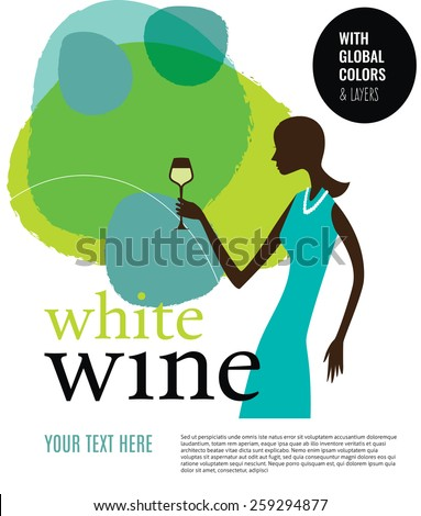 Girl with white wine glass. Vector illustration Eps10 file. Global colors & layers. - stock vector