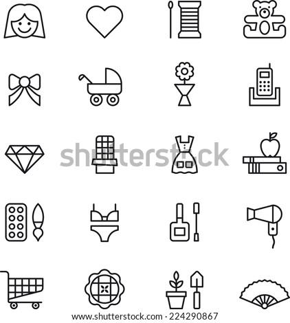 Girl & Woman icons - stock vector