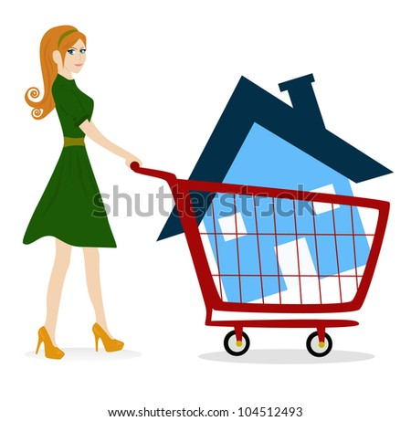 girl - woman with house trolley vector - stock vector
