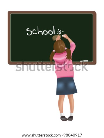 Girl writing on blackboard - stock vector