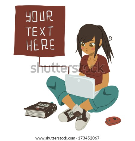 Girl Writing Text Message on notebook. The vector illustration of young girl writing message on her mobile phone. - stock vector
