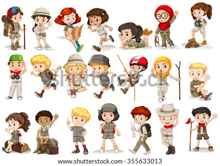 Girls and boys in camping costume illustration - stock vector