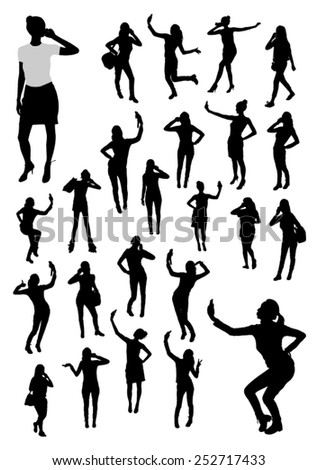 Girls and mobile phone silhouettes - stock vector