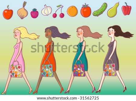 Girls are going from the vegetable shop - cartoon vector set - stock vector