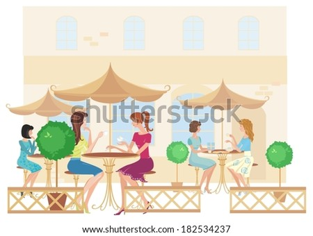 Girls at street cafe. Vector - stock vector