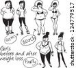 Girls before and after weight loss. Hand drawn characters, sketch, isolated - stock vector