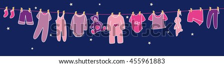 Girls' clothes and toys drying on the clothesline on sky background. Banner. - stock vector