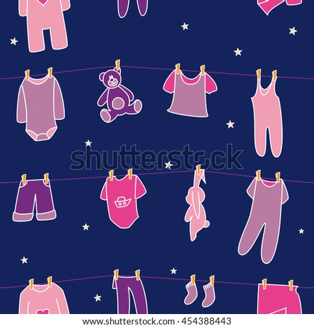 Girls' clothes and toys drying on the clothesline on sky background. Vector seamless pattern. - stock vector