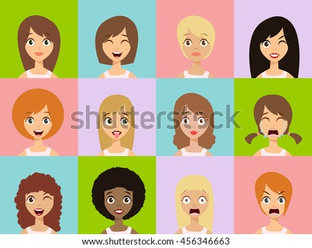 Girls Emoticon Icons. Woman Emoticons Expression Icons. Beauty Woman Emoticons Vector. Set of Woman Avatar Expressions Face Emoticons. Vector Illustration - stock vector