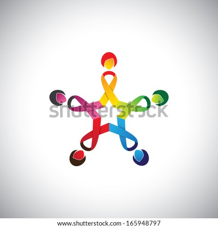 girls in circle with colorful cancer safety bows - concept vector. This graphic contains 5 women with cancer ribbon bows  indicating protection & safeguarding against breast cancer - stock vector