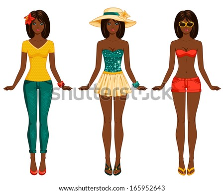 Girls in summer clothes. Vector illustration. Female body proportions. African American ethic. Stylish dressed woman with long dark hair. Brunette. - stock vector
