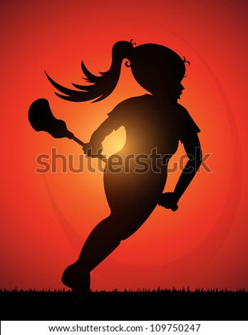 Girls Lacrosse Player (Silhouette of girls lacrosse player) - stock vector
