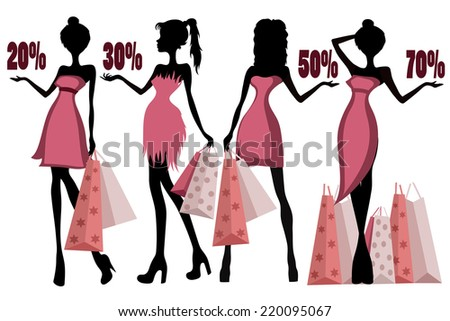 girls on sale - stock vector