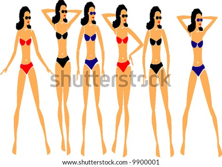 girls on the beach - stock vector