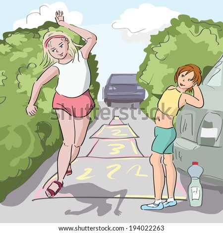 girls playing hopscotch - stock vector