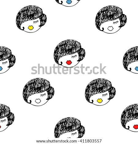 Girls seamless pattern. Hand drawn girl faces texture. Cartoon retro design. Fashion illustration - stock vector