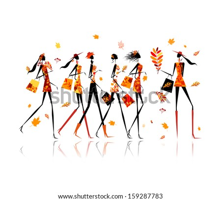 Girls with shopping bags, autumn sale for your design - stock vector