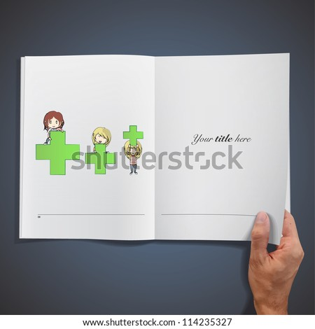 Girls with symbol of pharmacy inside a book. Vector illustration. - stock vector
