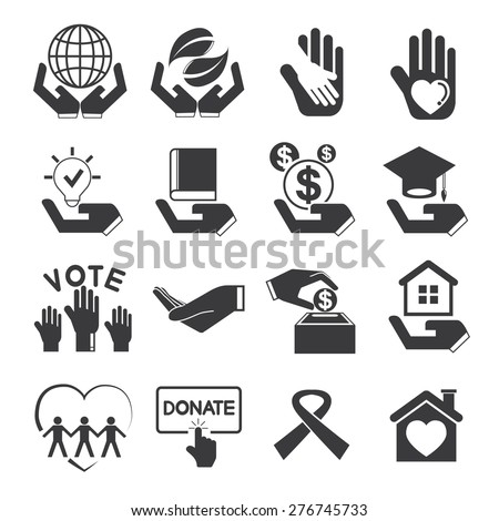 give and protect icons, donation icons, charity icons - stock vector