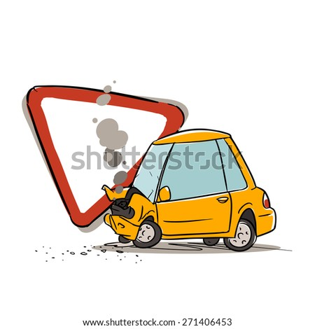 give way sign and car accident isolated on white - stock vector