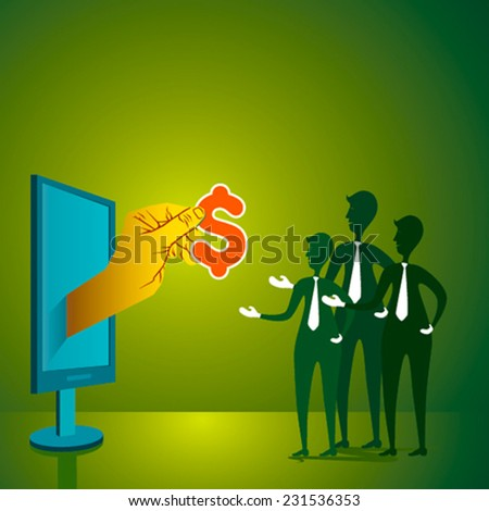 giving money to people or lottery concept vector - stock vector