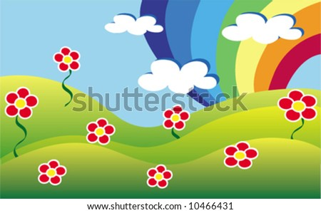 glade with rainbow - stock vector