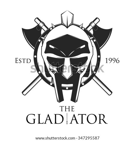 Gladiator shield with crossed axe vector illustration, logo design - stock vector