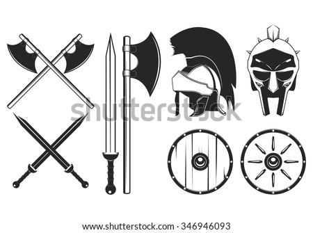 Gladiator weapon set. Axe, sword, shield, helmet vector illustration - stock vector