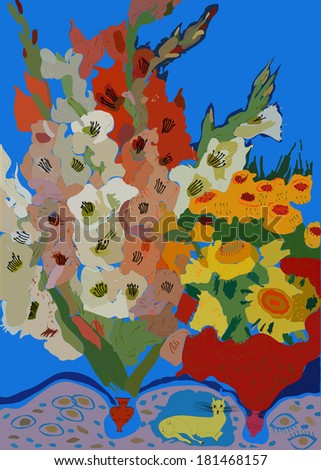 Gladioli in a vase with a pet on a bright blue background. - stock vector