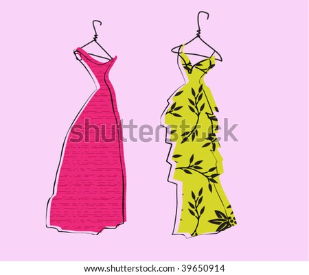 Glamor Girl's Wardrobe, Fuchsia and Yellow Evening Gowns - stock vector