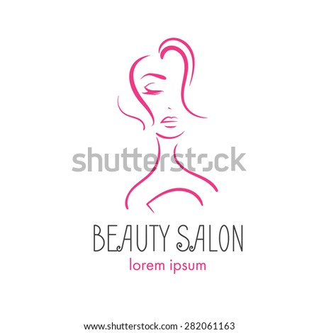 glamorous  logo for a beauty salon. Girl with closed eyes. Vector illustration. Fashion silhouette woman style - stock vector