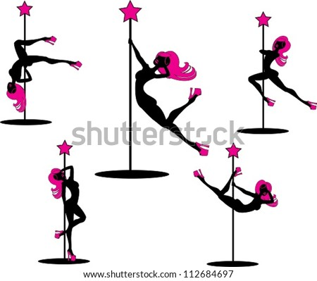 Glamorous Pole dancers. The vector illustration of several pole dancers silhouettes. - stock vector