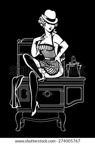 Glamorous sexy pin-up girl in hat, apron and gloves sitting on retro cooker. Home made cooking in vintage style. Woman in the kitchen / Housewife - stock vector