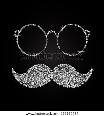 Glamorous, trendy, diamond oculars and mustache on black background vector. - stock vector