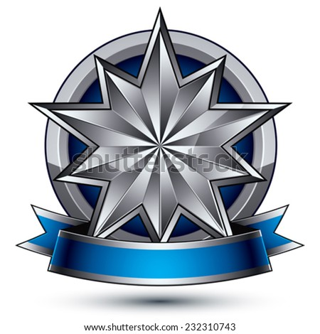 Glamorous vector template with pentagonal silver star symbol, best for use in web and graphic design. Conceptual heraldic icon with wonderful smooth strip, clear eps8 vector. - stock vector
