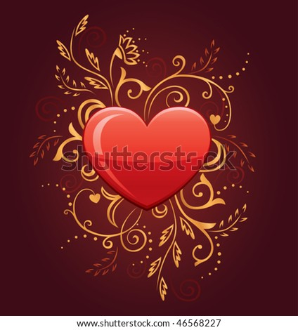 Glamour Heart with Floral Ornate on dark background - stock vector