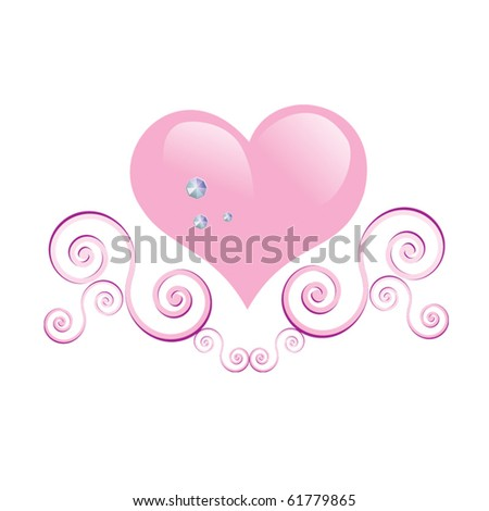 Glamour vector heart with diamonds and swirls - stock vector