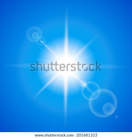 Glaring sun with lens flare over blue background - stock vector