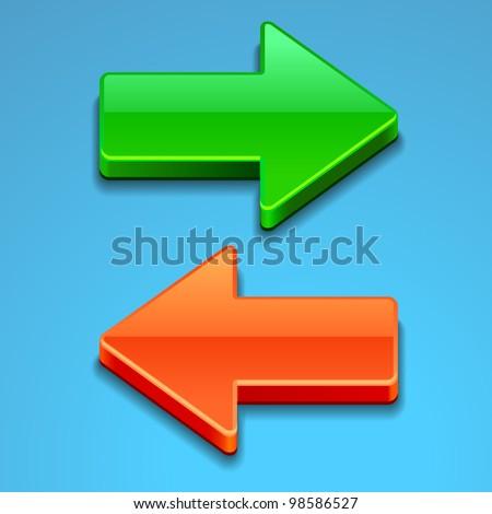 glass arrows - stock vector
