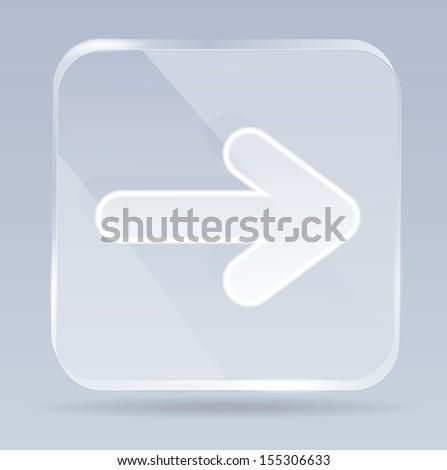 glass arrows icon - stock vector