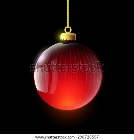 Glass ball decoration Christmas tree. Isolated on a black background. Vector Image Stock. - stock vector